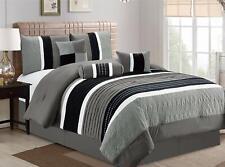 7Pcs Collection Bed in Bag Luxury Stripe Microfiber Comforter Set,Grey,King Size