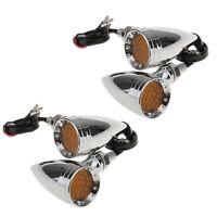 4x Chrome LED Metal Motorcycle Bullet Turn Signal Indicator Light Harley Chopper