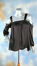 NEW $89 VINCE CAMUTO rich black cold open shoulder peasant silky blouse shirt L