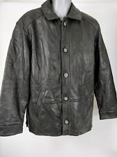MENS GUESS BLACK LEATHER BUTTON UP CAR COAT JACKET S SMALL