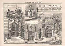 1881 ANTIQUE ARCHITECTURAL PRINT-DOORWAYS IN CONSTRUCTIVE FAIENCE