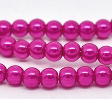 8mm HOT PINK FUCSHIA Glass Pearls 50 pieces bgl0431