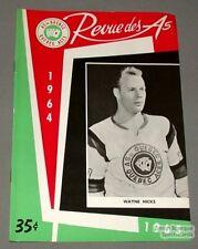 1964-65 AHL Quebec Aces Program Wayne Hicks Cover