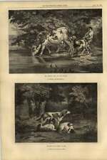 1855 Artwork Watering Place Rosa Bonheur Dogs In Forest Diaz