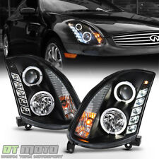 Black Headlamps For 2003-2007 G35 2-Door Coupe LED Halo DRL Projector Headlights
