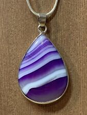 "Sterling Silver Purple Striped Botswana Agate Teardrop Pendant 20"" 925 Necklace"