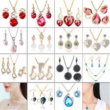 Fashion Necklace Waterdrop Pendant Rhinestone Crystal Wedding Jewelry Set Gift