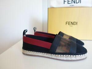 NIB $590 Fendi Colibri Mesh Zucca FF Logo Espadrille Flat Shoes 39.5 EU 9.5 US
