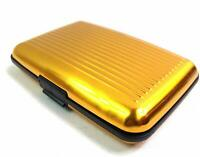 Women Unisex Men RFID SAFE Blocking Credit Card Holder Wallet Aluminium Gold