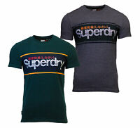 Superdry Mens Core Logo Stripe Short Sleeve Crew Neck Print T-Shirt Green Grey