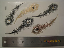 x2 temporary Metallic gold flash tattoos   -  festive boho chic style 3.5X6 inch
