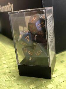 Chessex 7 Die Set - Polyhedral - Dark Grey / Copper - Opaque - Brand New