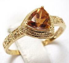 SYJEWELLERY 9CT YELLOW GOLD TRILLION YELLOW MYSTIC TOPAZ & DIAMOND RING N R914