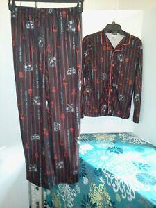 JOE BOXER BOYS LOUNGE SET PANTS SHIRT BLACK RED ROCK N ROLL SIZE XL #817