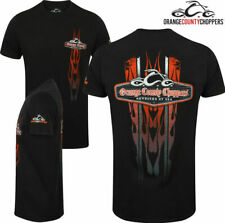 Orange County Choppers Mens Vertical Flame T-Shirt Official OCC Motorbike Bike