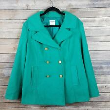 Old Navy Peacoat womens size XL wool coat green button front outerwear winter