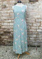Laura Ashley 100% Silk Long Summer Dress Duck Egg Blue Flower Print Size 8