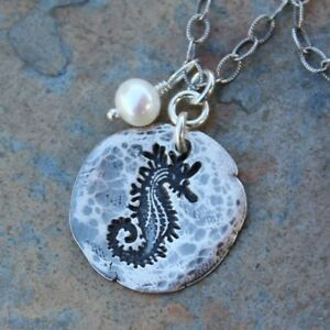Rustic Seahorse Necklace - Handmade fine silver hammered ocean charm + pearl