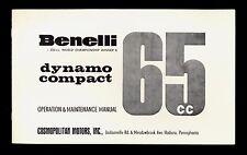 BENELLI DYNAMO COMPACT 65cc OPERATION & MAINTENANCE MANUAL / COMOPOLITAN MOTORS