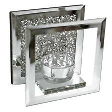 Mosaic Crystal Mirrored Frame Single Tea Light Candle Glass Holder Diamonds Like