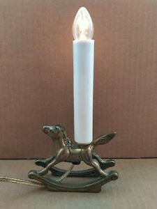 Electric Window Candle Lamp Rocking Horse with Solid Brass Base, Vintage Boho