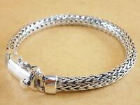 "New Bali Tulang Naga Foxtail Franco Wheat 925 Sterling Silver Bracelet 7.5"" 39g"