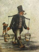 Alfred Donner-?-Aquarell/Zeichnung 1936/37 auf LEDER-?:  HAMBURG, HUMMEL-HUMMEL