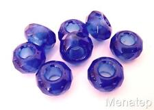 6(Six)  8x14mm Large Hole Rondelle Beads: Transparent Sapphire