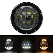"7"" Motorcycle Black Projector Daymaker HID LED Headlight w/ White & Amber DRL"