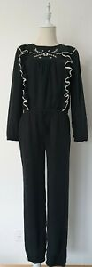 Country road jumpsuit Size 12 black with white embroidery and ruffles
