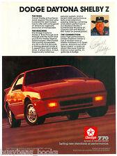 1987 DODGE DAYTONA SHELBY advertisement, Daytona Shelby Z