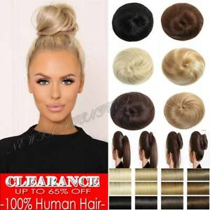 Real 100% Remy Human Hair Scrunchie Ponytail Bun Elastic Band Straight Messy US