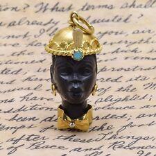 Vintage* Ladies 18k Gold & Onyx Female Blackamoor Pendant  **FREE SHIPPING**