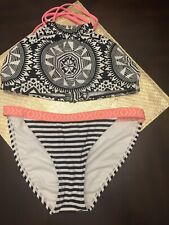 CUTE!!!NWOTs bikini Aztec print Black/ White Xhilaration Top D/DD Bottoms Medium