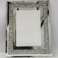 "Picture Photo Frame Sparkly Silver Mirrored Diamond Crush Crystal 4x6"" Photo"