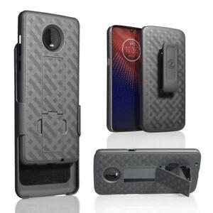 For Motorola Moto Z4 Verizon 5G Moto Z4 Holster Belt Clip Slim Combo Case Black