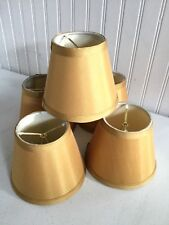 "Set Of 5 Chandelier Shades Gold Tan Clip On Bulb 4 1/4"" High"