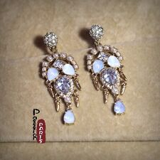 Costume Fashion Earrings Clips on Dangle Chandelier Mini Pearl Cream Vintage