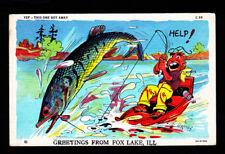Fox Lake, ILL. 1940s Giant Fish Souvenir Comic Postcard...Fishing...#794q