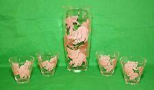 Vintage Hazel Atlas Pink Elephant Cocktail Shaker 4 Whiskey Shot Glasses