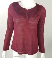 Jaclyn Smith Women Small Burgundy Red Burnout Lace Detail Button Neck Blouse NWT