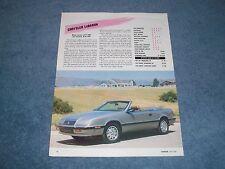 1988 Chrysler LeBaron Convertible Vintage New Car Info Article