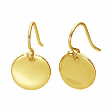 Gold Plated Sterling Silver Round Disc Drop Dangle Earrings