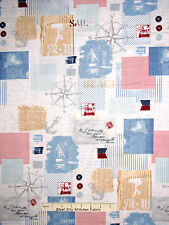 Nautical Fabric - Compass Ship Anchors Away Patchwork Red Rooster #25432 - Yard