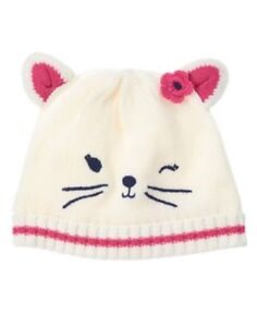 GYMBOREE LITTLE PALS IVORY w/ CAT FACE SWEATER BEANIE HAT 0 3 6 12 18 24 NWT