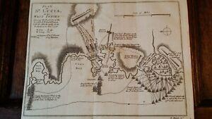 1778 ANTIQUE MAP PLAN ST LUCIA WEST INDIES AMERICAN REVOLUTIONARY WAR - T BOWEN