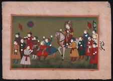 20TH CENTURY Gouache Miniature Painting PROCESSIONAL SCENE INDIAN MUGHAL STYLE