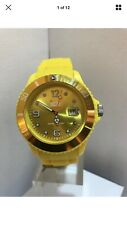 ICE-WATCH Men's Analogue Date Display Yellow Watch Rubber Strap Watch .Size 44mm
