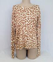 GEORGE Brown-Ivory ANIMAL Print XL Womens Cardigan Sweater Sz.16-18-NWOT
