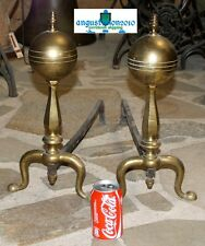 ANTIQUE PAIR ANDIRONS FIREPLACE BRASS AND FORGED 19 TH C.